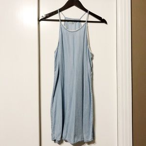 Light Blue Denim Lace Lined Halter Flowy Dress